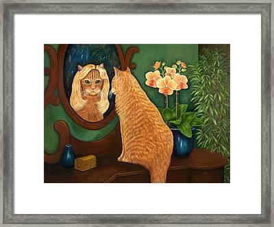 Framed Print featuring the painting Mirror Mirror On The Wall by Karen Zuk Rosenblatt