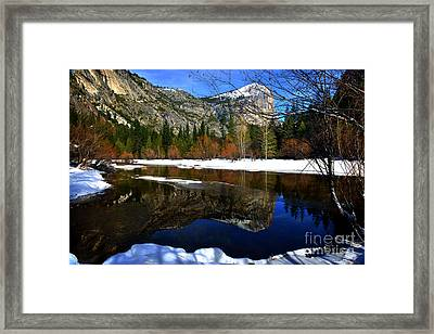 Mirror On The Lake Framed Print by Peter Dang