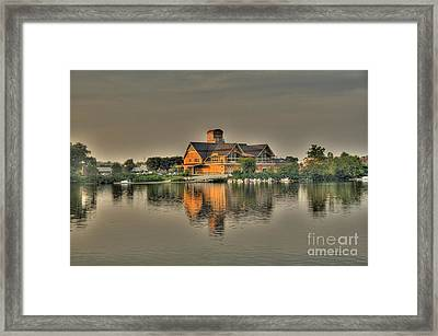 Mirrored Boat House Framed Print by Jim Lepard