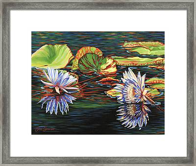 Mirrored Lilies Framed Print