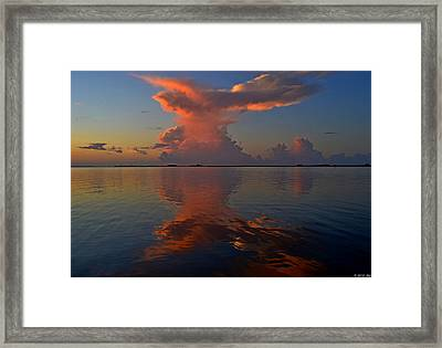 Mirrored Thunderstorm Over Navarre Beach At Sunrise On Sound Framed Print