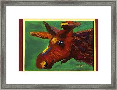 Mischievous Moose Framed Print by Diana Tripp