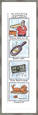 Misleading Economic Indicators Framed Print by Danny Shanahan