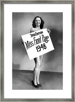 Miss Front Page Of 1948. Framed Print by Underwood Archives