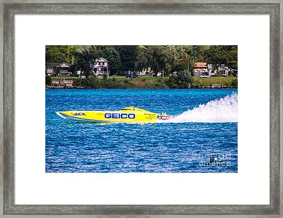 Miss Geico With Rooster Tail Framed Print