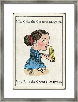Miss Grits The Grocer's  Daughter Framed Print by Mary Evans Picture Library