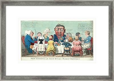 Miss Hibernia At John Bulls Family Dinner, Cruikshank Framed Print