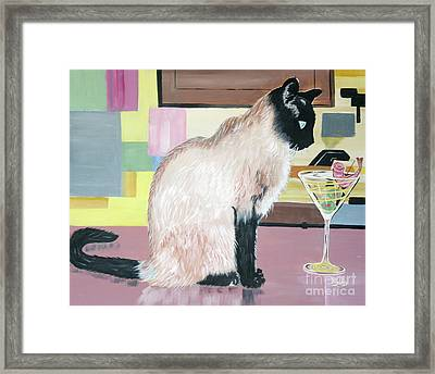 Framed Print featuring the painting Miss Kitty And Her Treat by Phyllis Kaltenbach