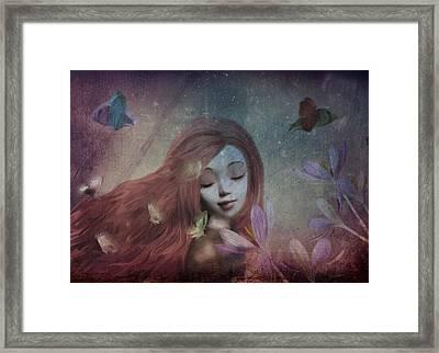 Framed Print featuring the digital art Miss Little Crocus by Barbara Orenya