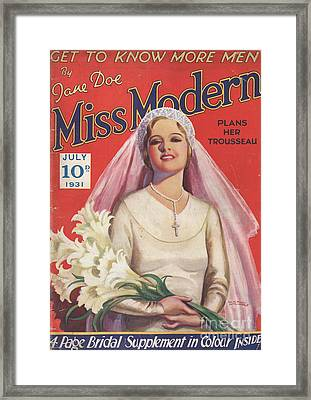 Miss Modern 1931 1930s Uk   Brides Framed Print by The Advertising Archives