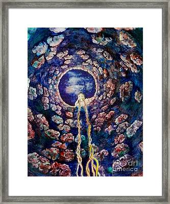 Miss Molly At The Well Framed Print by Jacquelyn Roberts