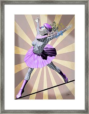Miss Pierrette Tightrope Framed Print by Quim Abella