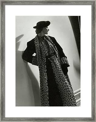 Miss Sheldon Modeling A Leopard Print Coat Framed Print by Horst P. Horst