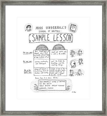 Miss Underhill's School Of Writing Sample Lesson Framed Print by Roz Chast