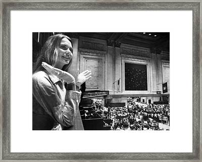 Miss Usa Visits Stock Exchange Framed Print by Underwood Archives