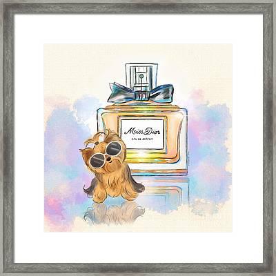Miss Yorkie Parfum Framed Print