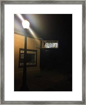 Mission Cafe  San Juan Bautista Nights Framed Print