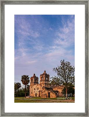 Mission Concepcion At Dusk Golden Hour - San Antonio Texas Framed Print by Silvio Ligutti