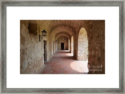 Mission Concepcion Promenade Walkway In San Antonio Missions National Historical Park Texas Framed Print