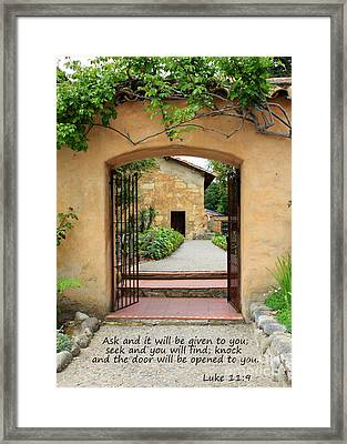 Mission Door With Scripture Framed Print by Carol Groenen