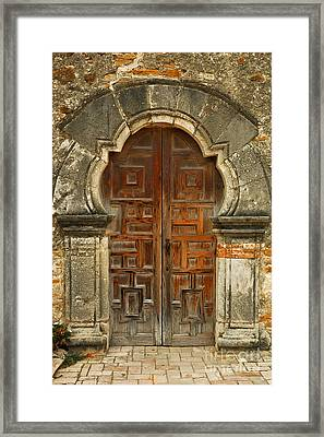 Mission Espada Door  Framed Print by Olivia Hardwicke