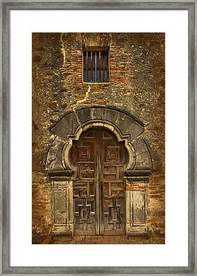 Framed Print featuring the photograph Mission Espada Doorway by Jemmy Archer