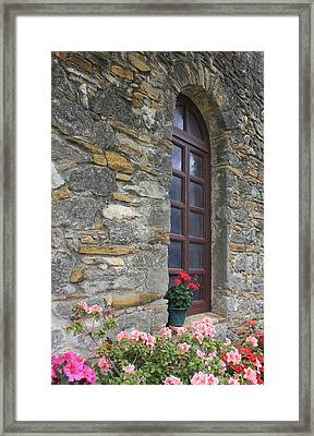 Mission Espada Window Framed Print by Kathleen Scanlan