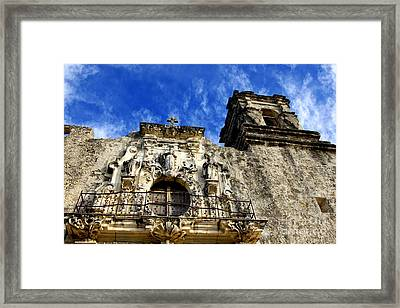 Framed Print featuring the photograph Mission San Jose Balcony And Tower by Lincoln Rogers