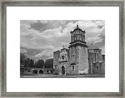 Framed Print featuring the photograph Mission San Jose Bw by Jemmy Archer