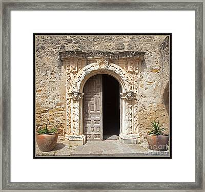 Mission San Jose Chapel Entry Doorway Framed Print by John Stephens