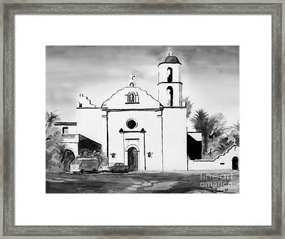 Mission San Luis Rey Bw Blue Framed Print by Kip DeVore