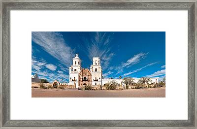 Framed Print featuring the photograph Mission San Xavier Del Bac Panorama by Dan McManus