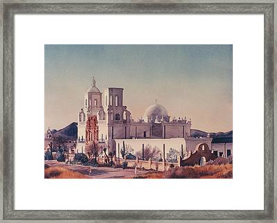 Mission San Xavier Del Bac Tucson Framed Print by Mary Helmreich