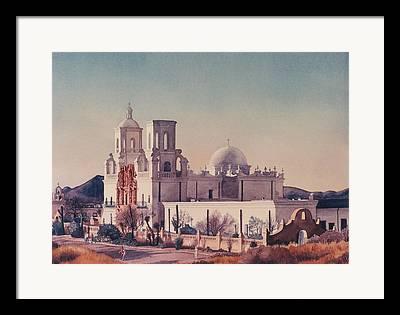 Mission San Xavier Del Bac Framed Prints
