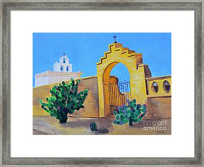 Framed Print featuring the painting Mission San Xavier by Rodney Campbell