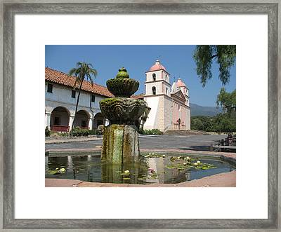 Mission Santa Barbara And Fountain Framed Print by Christiane Schulze Art And Photography