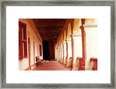 Framed Print featuring the photograph Mission Walkway by Vinnie Oakes