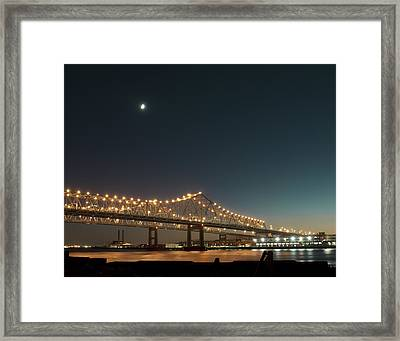 Mississippi Bridge Moonlight Framed Print by Ray Devlin