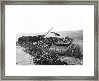 Mississippi Flood Control Framed Print by Underwood Archives