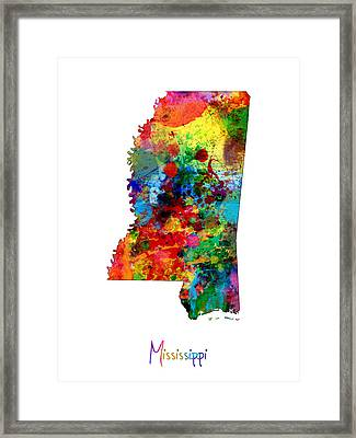 Mississippi Map Framed Print
