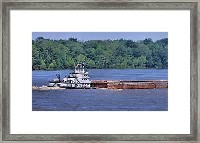 Mississippi River Barge Framed Print by Dan Sproul