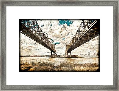 Framed Print featuring the photograph Mississippi River Bridge Twin Spans by Ray Devlin