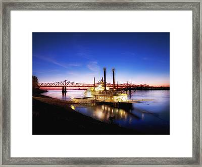 Mississippi River Casino Boat Sunset Framed Print by Mountain Dreams