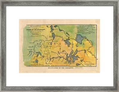 Mississippi River Headwaters 1887 Hand Painted Map Framed Print