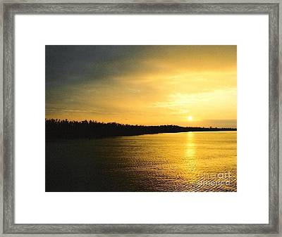 Framed Print featuring the photograph Sunrise Over The Mississippi River Post Hurricane Katrina Chalmette Louisiana Usa by Michael Hoard