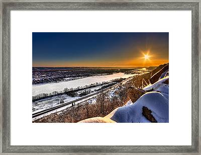 Mississippi River Sunrise Framed Print