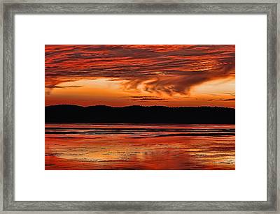 Framed Print featuring the photograph Mississippi River Sunset by Don Schwartz