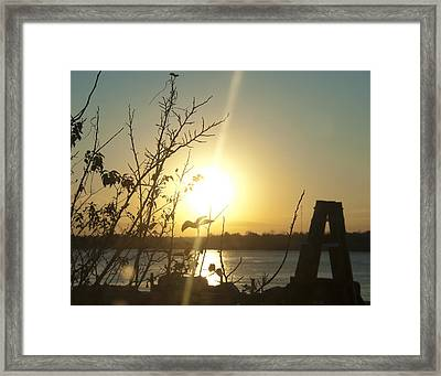 Framed Print featuring the photograph Mississippi River Sunset by Ray Devlin