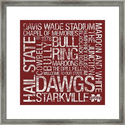 Mississippi State College Colors Subway Art Framed Print by Replay Photos
