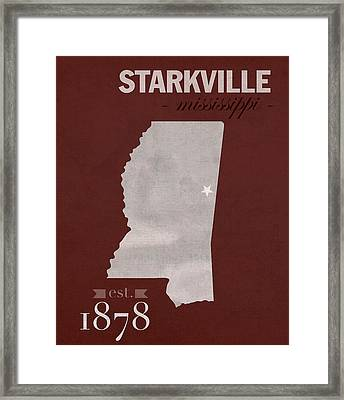 Mississippi State University Bulldogs Starkville College Town State Map Poster Series No 068 Framed Print